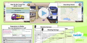 PlanIt - Geography Year 4 - Somewhere to Settle Lesson 5: How Are Settlements Linked? Lesson Pack - geography, settlement, settlers, transport, links, comparison, compass, points