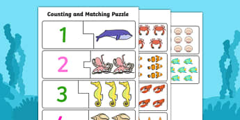 Under The Sea Themed Counting and Matching Puzzle - count, match
