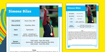 USA Olympians Simone Biles Fact File