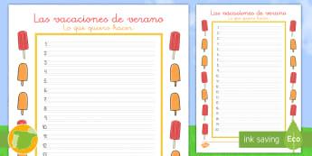 Ficha de actividad: Lista de las vacaciones de verano - lista de actividades, verano, vacaciones, escritura, escribir, lista, ideas, fin de curso, ,Spanish