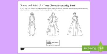 Romeo and Juliet Act I Scene iii Key Characters Activity Sheet - romeo, juliet, lady capulet, nurse, act I scene iii, act 1 scene 3, act 1, comedy, annotate, annotat
