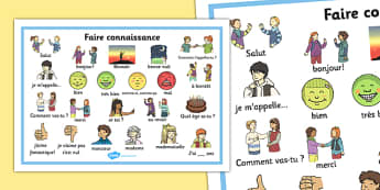 Faire connaissance Word Mat French - french, getting to know you, word mat, know, you, word, mat