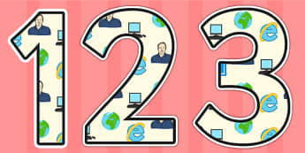 Tim Berners Lee Themed Display Numbers - tim berners lee,  display numbers, themed number, classroom number, numbers for display, numbers for display, display
