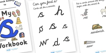 My 's' Workbook (cursive) - workbook, s sound, lowercase, cursive, letters, alphabet, activity, handwriting, writing