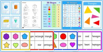 2d and 3d Shapes -  maths, numeracy, ks1, shapes 2d, 3d, faces, edges, polygons, poster, ac