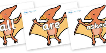 Tricky Words on Pterodactyl Dinosaurs - Tricky words, DfES Letters and Sounds, Letters and sounds, display, words