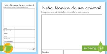 Ficha de actividad: Ficha técnica de un animal (en blanco) - ficha, técnica, animal, completa, características,Spanish