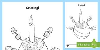 Tudalen Liwio Cristingl (Christingle Colouring Page) Taflenni Lliwio-Welsh - cristingl, nadolig, cristnogaeth, lliwio,Welsh, nadolig llawen, christingle - cristingl, nadolig, cristnogaeth, lliwio,Welsh, nadolig llawen, christingle
