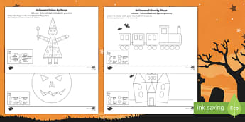 Halloween Themed Colour by 2D Shape Activity Sheet English/Romanian