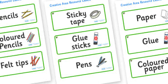 Elm Tree Themed Editable Creative Area Resource Labels - Themed creative resource labels, Label template, Resource Label, Name Labels, Editable Labels, Drawer Labels, KS1 Labels, Foundation Labels, Foundation Stage Labels