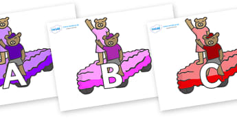 A-Z Alphabet on Teddies - A-Z, A4, display, Alphabet frieze, Display letters, Letter posters, A-Z letters, Alphabet flashcards