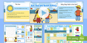 Sun, Sea and Beach Safety Information and  Activity Pack - flags, information, lifeguards, sun lotion, sun cream, reception, foundation,  year one,