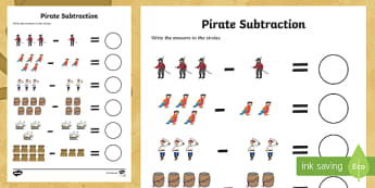 Pirate Subtraction Activity Sheet - Pirate Addition Sheet - pirate, pirates, pirate counting, pirate numeracy, counting, countng, coutin