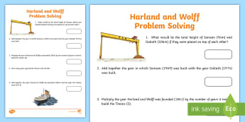 Harland and Wolff Problem Solving Activity-Irish - Harland & Wolff Belfast Titanic docks shipbuilders,Irish