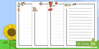 Pack de bordes: Verano - verano, pautas, escritura, dibujar, bordes, páginas, playa, gafas, helado, guías, guias,Spanish