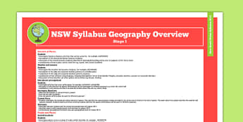 NSW Stage 1 Geography Syllabus Overview - australia, nsw, stage 1