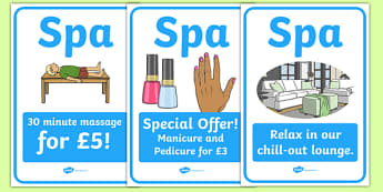 The Spa Role Play Posters - spa, role play, the spa, health and wellbeing, posters