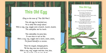 This Old Egg Song - butterfly life cycle, caterpillar, butterfly