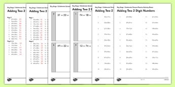 KS1 Arithmetic Content Practice Activity Sheet Pack Adding Two 2 Digit Numbers - Maths, KS1, Key Stage 1, Arithmetic, addition, subtraction, two-digit, tens, ones, add, subtract, worksheet
