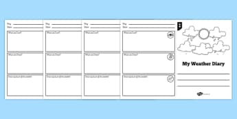 My Weather Diary Booklet Template - weather, diary, my weather diary, my diary