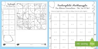 Das Kleine Einmaleins Faschingspuzzle (3er, 4er, 5er) Aktivität - Karneval, Fasching, Fastnacht, Puzzle, Mathepuzzle, Bildpuzzle, Anmalbilder, Das Kleine Einmaleins,