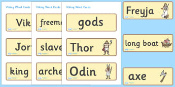 Viking Word Cards - Vikings, England, word card, flashcards, cards, history, longboat, Scandinavian, explorers, Viking Age, longship, Norse, Norway, Wessex, Danelaw, York, thatched house, shield