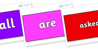 Tricky Words on Rectangles - Tricky words, DfES Letters and Sounds, Letters and sounds, display, words