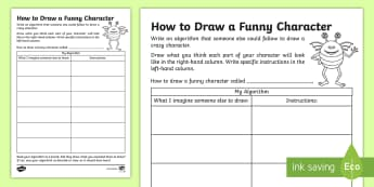 How to Draw a Funny Character Algorithm Activity Sheet - CfE Digital Learning Week (15th May 2017) Digital learning and teaching strategy, algorithms, Worksh