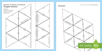 Reactions of Alkenes and Alcohols Tarsia Triangular Dominoes - Tarsia, gcse, chemistry, alcohols, alkenes, precipitates, reactions, hydrocarbons, saturated, unsatu