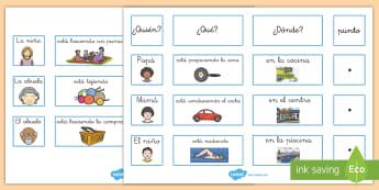 Tarjetas de clasificar: Secuenciar frases - Tarjetas, frases, oraciones, gramática, sintaxis, voabulario, lectura, leer, lea, lee, ordenar, cla