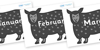 Months of the Year on Black Sheep to Support Teaching on Brown Bear, Brown Bear - Months of the Year, Months poster, Months display, display, poster, frieze, Months, month, January, February, March, April, May, June, July, August, September