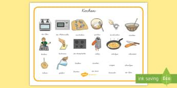 Kochen Wortschatz: Querformat - Schreibhilfe, Lernhilfe, Wortschatz, kochen, essen, backen, schneiden, hacken,German
