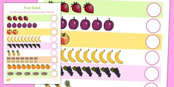 Fruit Salad Counting Sheet - olivers fruit salad, fruit salad, counting, count
