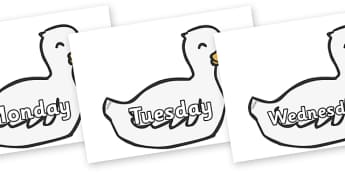 Days of the Week on Mother Duck - Days of the Week, Weeks poster, week, display, poster, frieze, Days, Day, Monday, Tuesday, Wednesday, Thursday, Friday, Saturday, Sunday