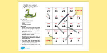 Snakes and Ladders 1st 100 High Frequency Words Board Game - CfE Literacy, reading, vocabulary, high frequency words, board games, snakes and ladders, turn takin
