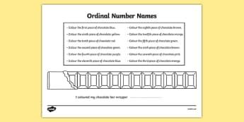 Ordinal Number Chocolate Bar Colouring Worksheet - ordinal numbers, chocolate bar, colouring, colour