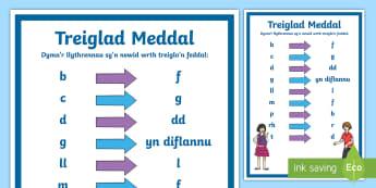 Treiglad Meddal - Y Llythrennau Sy'n Newid - Mutations Posters / Posteri Treigladau, treiglad meddal, Cywirdeb iaith, Cymraeg, ysgrifennu, siarad