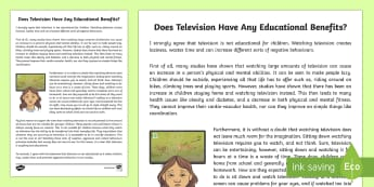 Is Television Educational for Children? Exposition Writing Sample - Literacy, Is Television Educational for Children? Exposition  Writing Sample, writing sample, writin