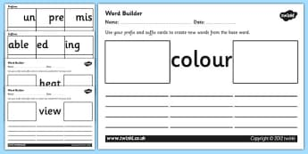 Prefix and Suffix Word Builder Cards and Worksheets - prefixes and suffixes, prefix and suffix worksheets, prefix and suffix cards and worksheet, ks2