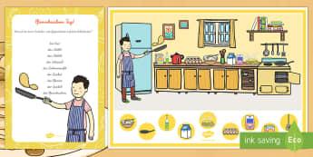 Pfannkuchen Backen Ich Sehe Was, Was du nicht Siehst Aktivität-German - Pfannkuchen, Suchbild, Backen, DAZ, DAF,German