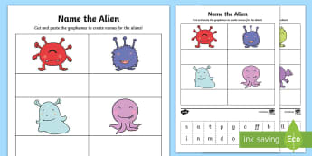 Phase 2 Phonics Name the Alien Cut and Stick Activity - phonics screening, phonics, aliens, space, reading, phase two, grapheme, phoneme, digraph, letters,
