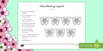 Schmetterling Logical Arbeitsblatt - Frühling, Aufgaben, Rätsel, Logical, Schmetterling, spring, quiz, butterfly,German