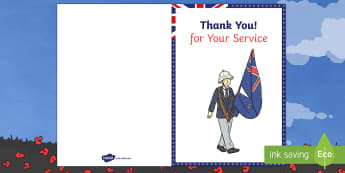 ANZAC Day Thank You Veterans Card - anzac day, thank you, veterans, card, celebrate, anzac, australia