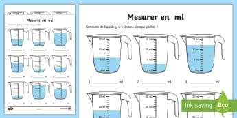 Feuille d'activités : Mesurer en ml - Mathématiques, KS2 cycle 2, cycle 3, maths, mesures, contenance, volume, litre, millilitre, ml, fic