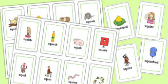 SQU Flash Cards - speech sounds, phonology, articulation, speech therapy, cluster reduction, three element clusters, complex clusters