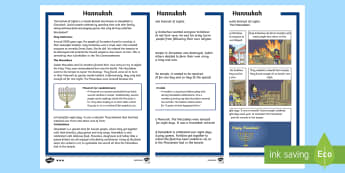 KS1 Hanukkah Differentiated Fact File - Hanukkah, 24th Dec, Judaism, festival of light, menorah, light, temple, Judah Maccabee, Maccabees, o
