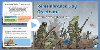Remembrance Day Creativity Lesson 2 War Poem Analysis PowerPoint