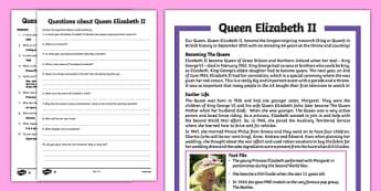 Queen Elizabeth II Upper KS2 Differentiated Reading Comprehension Activity