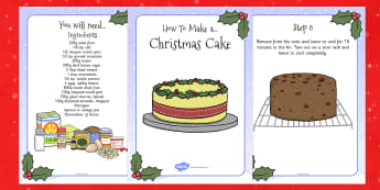 Christmas Cake Recipe Cards - christmas, cake, recipe, cards