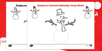 Ćwiczenie doskonalące chwyt ołówka Bałwanek - święta, świąteczny, zima, bałwan, bałwanek, śnieg, lepić, lepienie, ołówek, pisanie, wstę
